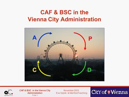 November 2003 Eva Sejrek & Manfred Fasching CAF & BSC in the Vienna City Administration Folie 1 CAF & BSC in the Vienna City Administration P DC A.