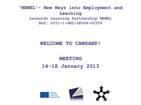 WELCOME TO CAWSAND! MEETING 14-18 January 2013 NEWEL- New Ways into Employment and Learning Leonardo Learning Partnership NEWEL Ref; 2011-1-GB2-LEO04-05359.