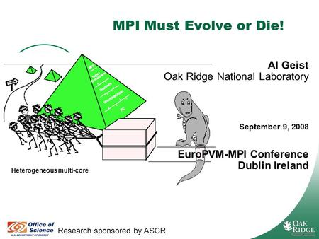 Managed by UT-Battelle for the Department of Energy MPI Must Evolve or Die! Research sponsored by ASCR Al Geist Oak Ridge National Laboratory September.