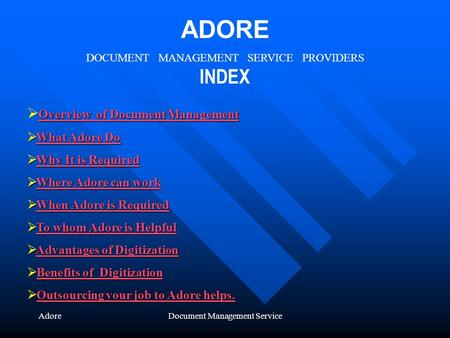 AdoreDocument Management Service ADORE DOCUMENT MANAGEMENT SERVICE PROVIDERS INDEX Overview of Document Management Overview of Document Management Overview.