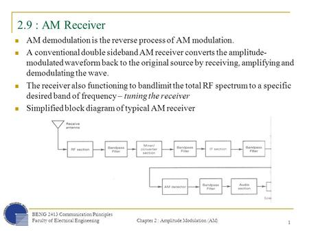 2.9 : AM Receiver AM demodulation is the reverse process of AM modulation. A conventional double sideband AM receiver converts the amplitude-modulated.