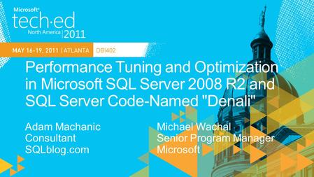 DBI402. SQL Server Specialist, Financial Industry Boston, MA Conference and INETA Speaker Connections, PASS, TechEd, DevTeach, etc. Author SQL Server.