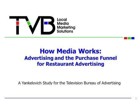 How Media Works: Advertising and the Purchase Funnel for Restaurant Advertising 1 A Yankelovich Study for the Television Bureau of Advertising.