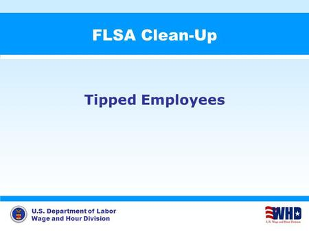 U.S. Department of Labor Wage and Hour Division FLSA Clean-Up Tipped Employees.