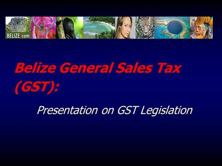 Belize General Sales Tax (GST): Presentation on GST Legislation.