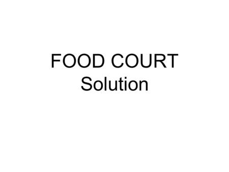 FOOD COURT Solution Software Module ApplicationAdministratorCash Point Restaurant Control ManagerPOS User.