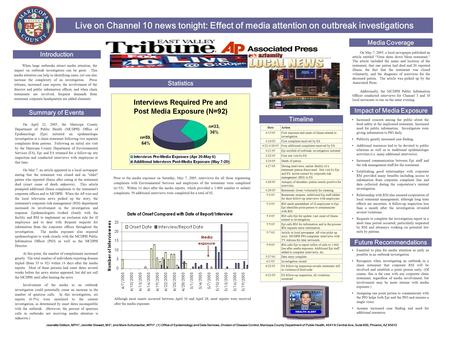 Live on Channel 10 news tonight: Effect of media attention on outbreak investigations On April 21, 2005, the Maricopa County Department of Public Health.