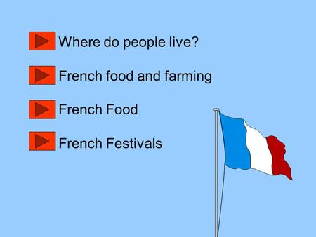 Where do people live? French food and farming French Food French Festivals.