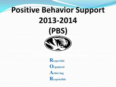 Positive Behavior Support 2013-2014 (PBS) North Miami Middle School R espectful O rganized A chieving R esponsible.