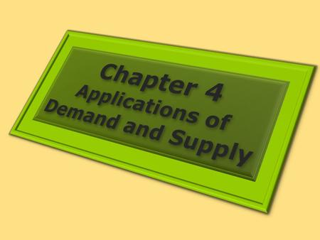 1. PUTTING DEMAND AND SUPPLY TO WORK Learning Objectives 1.Learn how to apply the model of demand and supply to explaining the behavior of equilibrium.