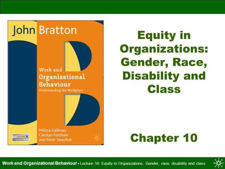 Equity in Organizations: Gender, Race, Disability and Class Chapter 10