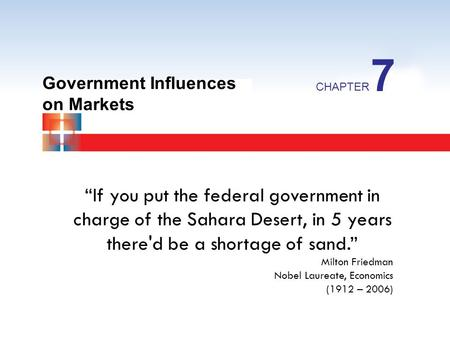 7 Government Influences on Markets CHAPTER