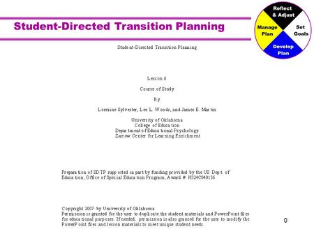 Student-Directed Transition Planning 0. 1 Course of Study.
