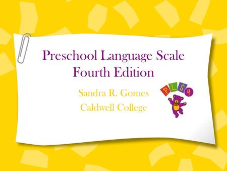 Preschool Language Scale Fourth Edition