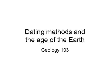 Non-radiometric Dating