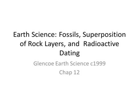 Glencoe Earth Science c1999 Chap 12