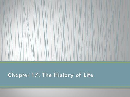 Chapter 17: The History of Life