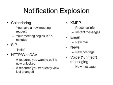Notification Explosion Calendaring –You have a new meeting request –Your meeting begins in 15 minutes SIP –Hello HTTP/WebDAV –A resource you want to edit.
