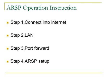 ARSP Operation Instruction