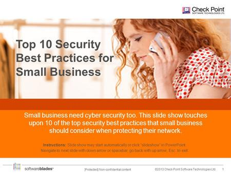 1©2013 Check Point Software Technologies Ltd. [Protected] Non-confidential content Top 10 Security Best Practices for Small Business Small business need.