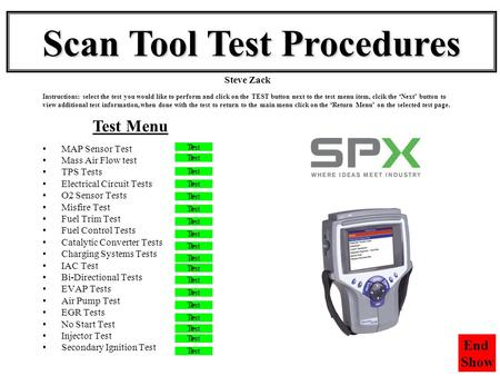 Scan Tool Test Procedures