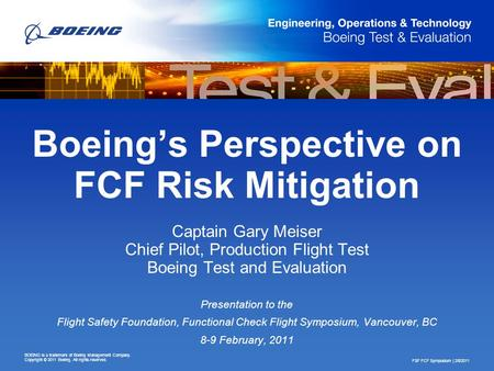 Boeing's Perspective on FCF Risk Mitigation