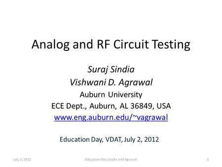 Analog and RF Circuit Testing