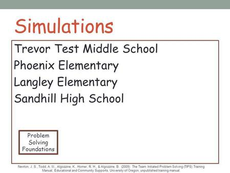 Simulations Trevor Test Middle School Phoenix Elementary Langley Elementary Sandhill High School Problem Solving Foundations Newton, J. S., Todd, A. W.,