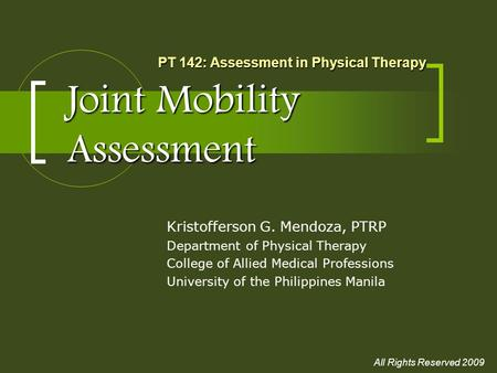 Joint Mobility Assessment