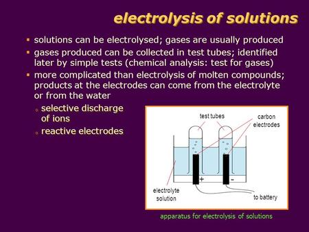 Electrolysis of solutions solutions can be electrolysed; gases are usually produced gases produced can be collected in test tubes; identified later by.