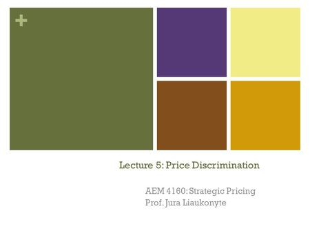+ Lecture 5: Price Discrimination AEM 4160: Strategic Pricing Prof. Jura Liaukonyte 1.