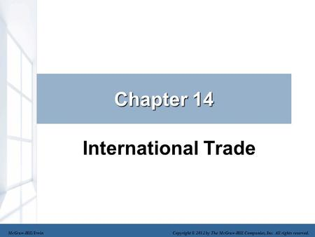 Chapter 14 International Trade