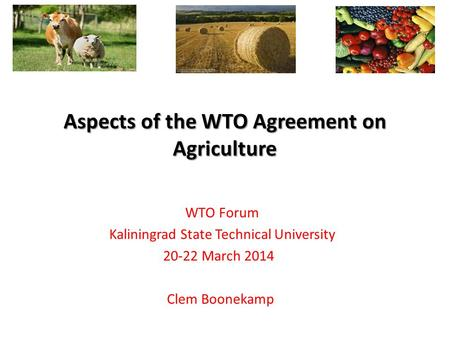 WTO Forum Kaliningrad State Technical University 20-22 March 2014 Clem Boonekamp Aspects of the WTO Agreement on Agriculture.