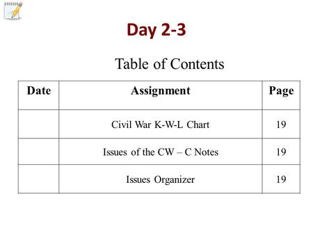 Day 2-3 DateAssignmentPage Civil War K-W-L Chart19 Issues of the CW – C Notes19 Issues Organizer19 Table of Contents.