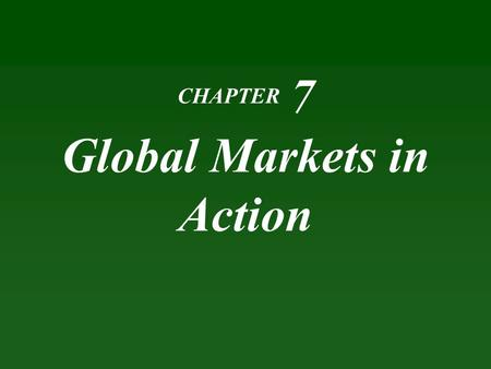 CHAPTER 7 Global Markets in Action. Learning Objectives Explain how markets work with international trade Identify the gains from international trade.