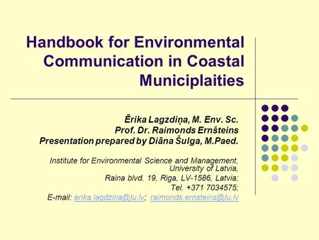 Handbook for Environmental Communication in Coastal Municiplaities