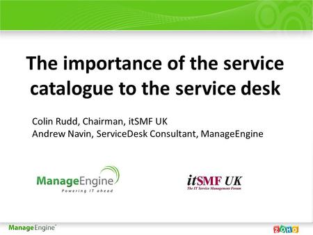 The importance of the service catalogue to the service desk