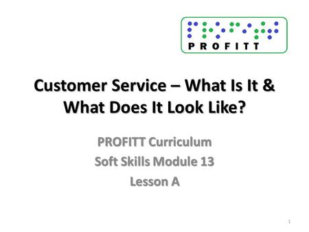 Customer Service – What Is It & What Does It Look Like? PROFITT Curriculum Soft Skills Module 13 Lesson A 1.
