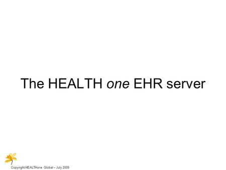 Copyright HEALTHone Global – July 2009 The HEALTH one EHR server.