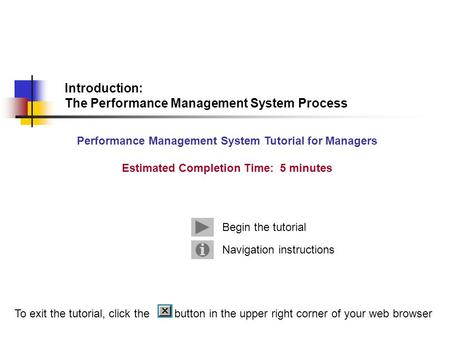 Introduction: The Performance Management System Process