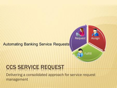 Delivering a consolidated approach for service request management Automating Banking Service Requests.