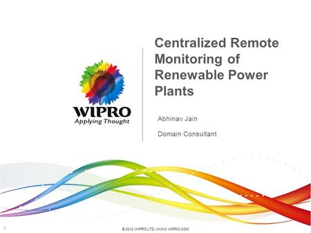 Centralized Remote Monitoring of Renewable Power Plants