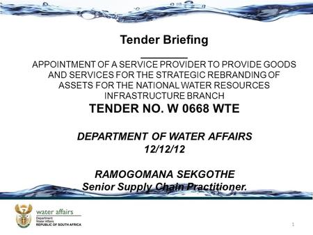 DEPARTMENT OF WATER AFFAIRS Senior Supply Chain Practitioner.