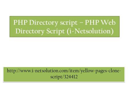 PHP Directory script – PHP Web Directory Script (i-Netsolution)  script/