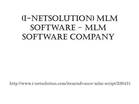 (i-Netsolution) MLM Software – MLM Software Company