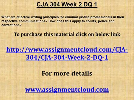 cja 304 week 1 Need any help regarding cja 304 final exam then assignment e help is the best way to solve your problems connect with us to join the community of instant learning on the cja 304d.