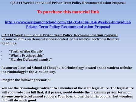 prison term policy recommendation proposal
