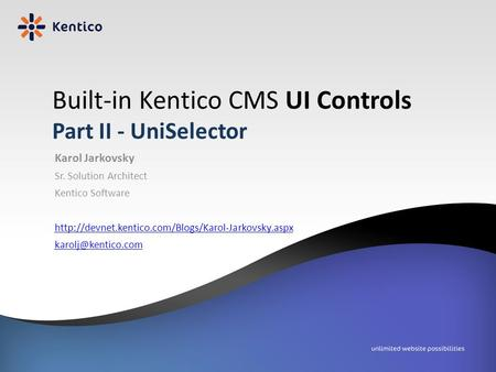 Built-in Kentico CMS UI Controls