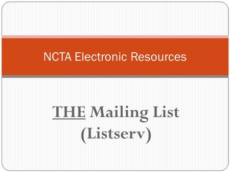 NCTA Electronic Resources