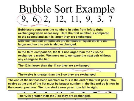 Bubble Sort Example 9, 6, 2, 12, 11, 9, 3, 7 6, 9, 2, 12, 11, 9, 3, 7 Bubblesort compares the numbers in pairs from left to right exchanging.